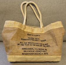 RARE Trader Joes Burlap Tote Reusable Bag w/ Rope Handles - Lined