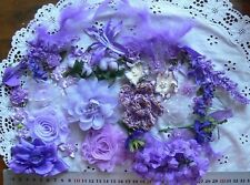 PURPLES & LILAC Mixture 40 Flowers Mostly FABRIC + Feathers & Bows 15-60mm NC