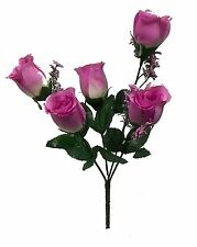 5 Roses Buds ~ MANY COLORS ~ Wedding Centerpieces Silk Flowers Bridal Bouquets