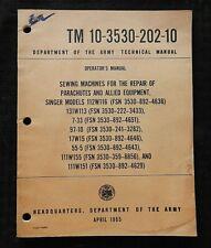 1965 Vietnam War Singer Sewing Machines For Parachutes Repair Manual Paratrooper