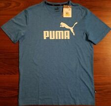 Puma Men's Essentials+ Heather Short Sleeve Tee, Color: Indigo Bunting, Size: M
