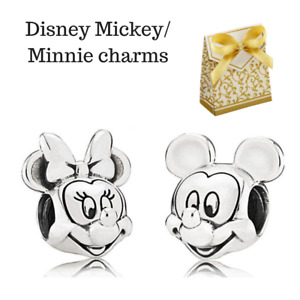 Disney Mickey Minnie Mouse Portrait Charm set fits European bracelets +Gift Box