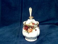 """Royal Albert  """" Old Country Roses """" Jam/Preserve Pot with Gold Spoon - 1st - Eng"""
