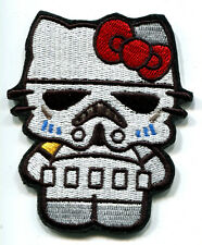 HELLO KITTY AS STAR WARS STORMTROPPER EMBROIDERED IRON ON PATCH FREE SHIPPING!