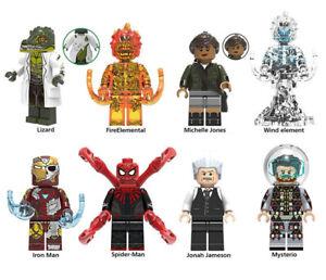 Marvel Lizard Elementals Fire Wind SpiderMan Mysterio IronMan Building Blocks