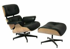 Ash Wood Lounge Chair & Ottoman with Black Leather