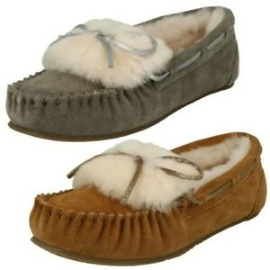 Ladies Clarks Warm Lined Slippers Warm Glamour