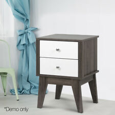 Bedside Table with Drawers MDF Melamine Finish Natural Wood Grain Two Drawers