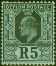 Ceylon 1910 5R Black-Green SG299 Fine Lightly Mtd Mint