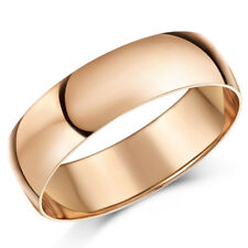 9ct Rose Gold Ring D Shaped Men's Women's Solid & Hallmarked Wedding Ring Band