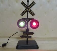 Railroad Crossing Signal Green & Red Lights Desk Lamp RR Xing With Sound Effect