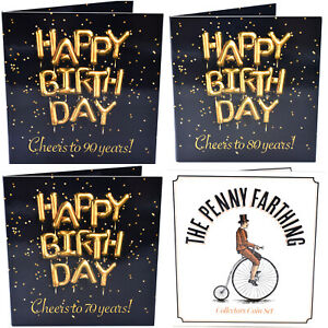 Coin Collectors Birthday Cards 90th 80th 70th Birthday Penny Farthing Gift