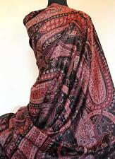 Large Wool Jamavar Shawl. Paisley Jacquard Throw Pashmina Style  Black, Burgundy