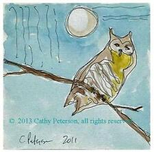 Gray Owl in the Moon Light ORIGINAL WATERCOLOR PAINTING print SIGNED ACEO art