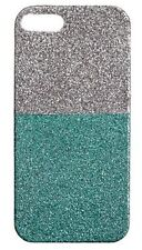 J CREW CREWCUTS COLORBLOCK GLITTER CASE FOR IPHONE 5 SILVER TONE & GREEN NIB $25