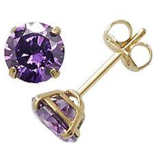 9ct Gold February Birthstone Stud Earrings Purple Amethyst Coloured Jewellery