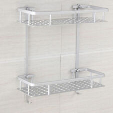 2 tiers Shower Caddy Shelf Aluminium Square Bathroom Storage Holder Rack