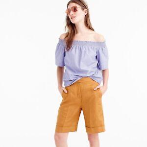 J Crew Cuffed Linen Bermuda Shorts Size 2 Golden Yellow Relaxed Womens High Wais