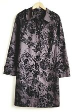 LAURA ASHLEY LADIES BLACK /GREY FLORAL COTTON MAC JACKET COAT SIZE 10