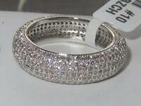 3W1273 AAA Ring RHODIUM SIMULATED DIAMONDS FULL ETERNITY PAVE WEDDING CHUNKY