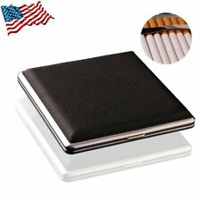 Pu Leather Cover Metal Cigarette Case Box Double Sided Clip for 20 Cigarette Us
