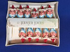 VINTAGE SHINY BRITE SANTA CLAUS HONEYCOMB CHRISTMAS TOOTHPICKS in Orig Box