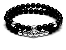 Black Agate Double Layer Beaded Silver Skull Stretch Impermanence Bracelet