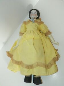"""18"""" Antique German High Brow China Doll ~ 1860-1880 ~ Original Sewn On Clothes"""