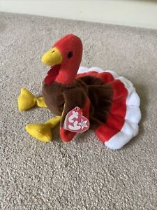 Ty Beanie Baby 1996 Gobbles The Turkey With Tags Thanksgiving Soft Toy