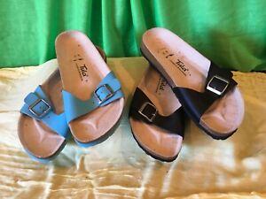 "NEW w/out Box, Women's ""Tula by Birkenstock's"" Sandals, Size 10, Black, Lt. Blue"
