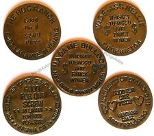 Hotel Brothel cat house brass tokens lot of 5 #6