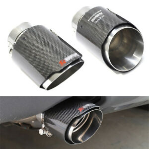 1pcs Real Carbon Fiber Exhaust Tips 63mm Inlet Car Muffler Pipe stainless steel