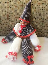Vintage African American Hand Made Shelf Sitter Clown Doll Wood Middle