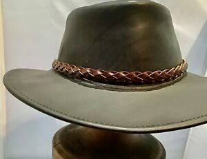 Buffalo  leather hat band Brown Australian made Dundee Western man woman hats