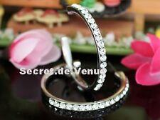 boucles créoles hoop anneaux cristal swarovski plaqué or blanc ouvertes