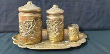 Nécessaire  fumeur Bronze 1900  3 pots et plateau fleurs art nouveau japonisant