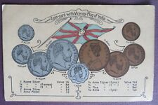 Coin card with viceroy flag of India Picture postcard Pub. B Rigold & Bergmann