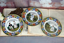 Set of 3 Rare Porcelain hand paint plates marked collection pieces French 1930
