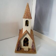 Japan Putz Church House Christmas Village Gold Feather Bottle Brush Trees Bell