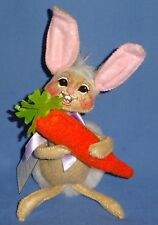 "Annalee Bunny Tails 6"" Happy Face Rabbit-Cotton tail w/Carrot;bendable NWT 2014"