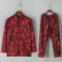 Men Silk Martial Arts Wushu Tai Chi Set Tang Suit Wing Chun Kung Fu Suit Uniform