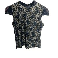 NWT Laundry By Shelli Segal Black Lace Overlay Blouse Shirt - SIZE M