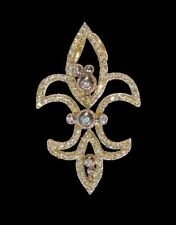 NEW Fleur de Lis Pendant Necklace-18K Gold Diamond-Power-Enlightenment-Good Luck