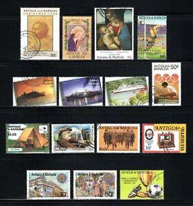 Antigua & Barbuda -- 15 diff used commemoratives -- cv $9.40