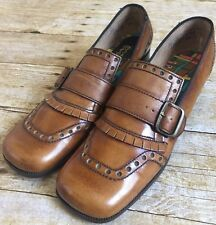 Vintage Pocos 60's Women's Oxford Shoes Size 7.5 Brown Leather New Rare Funky