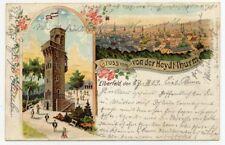 AK Wuppertal Elberfeld Von der Heydt Turm Gruss vom Thurm Litho
