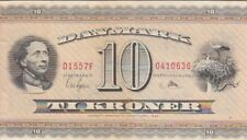 Denmark Banknote P44d-0636 10 Kroner 1955 Prefix D1, VF-EF