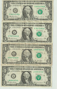Lot of 4 $1 Bills it's Time 2 Irritate Deal The  4 dollars togather spell Deal..
