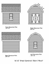 Shed Plans 16'X12' Blueprints Shed 12'X16' Workshop Storage #17-1216Gmbsd