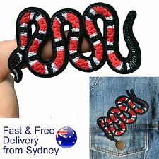 Snake iron on patch red snake animal fang bite poison reptile iron-on patches